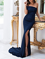 cheap -Mermaid / Trumpet Minimalist Sexy Wedding Guest Formal Evening Dress One Shoulder Sleeveless Court Train Spandex with Ruched 2020