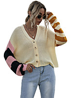 cheap -Women's Basic Button Striped Cardigan Long Sleeve Sweater Cardigans V Neck Spring Fall Beige
