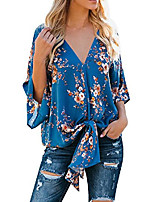 cheap -womens floral v neck tie knot front blouses bat wing short sleeve chiffon tops shirts & #40;x orange, x-large& #41;