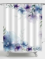 "cheap -retro spring floral shower curtain, blue purple flowers and green leaves art print bathroom accessories for women and girls flowered home decor, 72"" w x 96"" l extra long for bathtub"