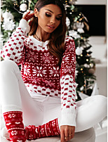 cheap -Women's Stylish Knitted Polka Dot Pullover Long Sleeve Sweater Cardigans Boat Neck Fall Winter White Red