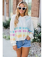 cheap -Women's Daily Pullover Hoodie Sweatshirt Rainbow Basic Hoodies Sweatshirts  White