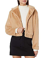 cheap -women's sugar faux fur collared bomber jacket, biscuit, l