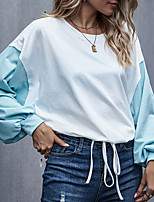 cheap -Women's Going out Blouse Color Block Long Sleeve Print Drawstring Round Neck Tops Loose Elegant Sexy Basic Top White
