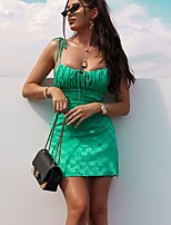 cheap -Women's Strap Dress Short Mini Dress - Sleeveless Print Backless Print Summer Strapless Sexy Going out Club Slim 2020 Green XS S M L