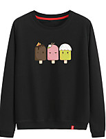 cheap -Women's Sweatshirt Pullover Sweatshirts Black White Pink Cartoon Crew Neck Cotton Cartoon Cute Ice Cream Sport Athleisure Pullover Long Sleeve Breathable Warm Soft Comfortable Everyday Use Causal