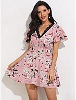cheap -Women's A-Line Dress Short Mini Dress - Short Sleeve Print Lace Print Summer V Neck Casual Slim 2020 Blushing Pink XS S M L