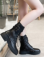 cheap -Women's Boots Cuban Heel Round Toe Basic Punk & Gothic Daily Lace-up Solid Colored PU Mid-Calf Boots Walking Shoes Black