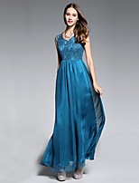 cheap -A-Line Elegant Floral Wedding Guest Formal Evening Dress Jewel Neck Sleeveless Floor Length Chiffon with Pleats Lace Insert Embroidery 2020