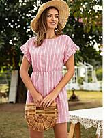 cheap -Women's Shift Dress Short Mini Dress - Short Sleeve Striped Summer Casual Loose 2020 Blue Blushing Pink Green S M L XL