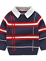 cheap -Kids Boys' Basic Striped Solid Colored Print Long Sleeve Blouse Khaki