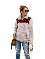 cheap -Women's Daily Pullover Sweatshirt Plaid Checkered Front Pocket Casual Hoodies Sweatshirts  Red Khaki Brown