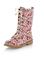 cheap -Women's Boots Cuban Heel Round Toe Sweet Daily Floral Cotton Mid-Calf Boots Black / Pink