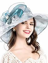 cheap -women& #39;s organza uv-anti church derby hat fascinator tea party wendding hat wide brim bridal ruffles hat & #40;design 2 - blue& #41;