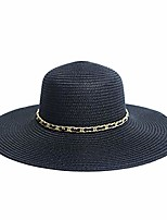 cheap -women& #39;s flat top wide brim straw fedora sun hats for women & #40;black& #41;