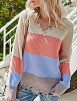 cheap -Women's Basic Open Back Hole Knitted Striped Pullover Acrylic Fibers Long Sleeve Loose Sweater Cardigans V Neck Fall Winter Blushing Pink Green