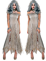 cheap -Ghostly Bride Dress Cosplay Costume Outfits Adults' Women's Cosplay Halloween Halloween Festival / Holiday Tulle Polyester Gray Women's Easy Carnival Costumes / Headwear / Headwear