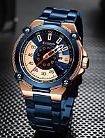 cheap -CURREN Men's Steel Band Watches Quartz Formal Style Modern Style Luxury Water Resistant / Waterproof Stainless Steel Black / Blue / Silver Analog - Digital - Black+Gloden Black Blue One Year Battery
