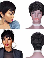 cheap -Remy Human Hair Wig Short Natural Straight Pixie Cut With Bangs Natural Black Simple Party Hot Sale Capless Women's Natural Black 8 inch