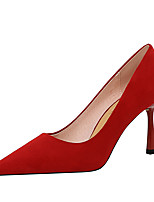 cheap -Women's Heels Flare Heel Pointed Toe Sexy Party & Evening Solid Colored Suede Black / Yellow / Light Red