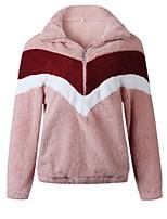 cheap -Women's Zipper Teddy Coat Regular Geometric Daily Basic White Black Blushing Pink S M L