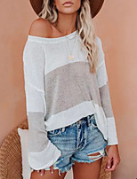 cheap -Women's Basic Knitted Color Block Pullover Long Sleeve Loose Sweater Cardigans Crew Neck Round Neck Fall Winter Khaki Gray