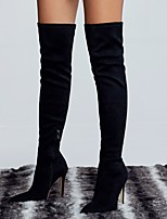 cheap -Women's Boots Pumps Pointed Toe Sexy Outdoor Solid Colored Nubuck Over The Knee Boots Black