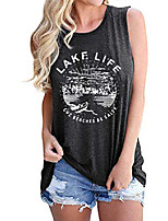 cheap -women graphic tees summer vacation tank tops lake life letters print t shirt funny saying sleeveless casual vest tee dark gray