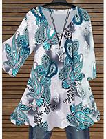 cheap -Women's Plus Size Tunic Tribal Long Sleeve Print V Neck Tops Basic Basic Top Blue