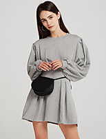 cheap -Women's A-Line Dress Short Mini Dress - Long Sleeve Solid Color Ruched Patchwork Fall Casual Lantern Sleeve Cotton Slim 2020 Black Gray S M L XL