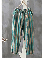 cheap -Women's Basic Daily Weekend Chinos Pants Striped Green Gray S M L