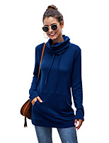 cheap -Women's Daily Pullover Sweatshirt Solid Color Plain Front Pocket Casual Hoodies Sweatshirts  Blue Purple Blushing Pink