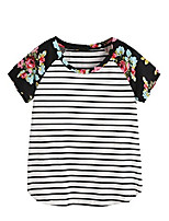 cheap -women's floral print short sleeve tops striped casual blouses t shirt black# m