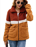 cheap -Women's Zipper Teddy Coat Regular Color Block Daily Basic Army Green Camel S M L