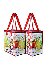 cheap -Insulated Reusable Grocery Bag Shopping Tote With Zipper Top Lid Durable Thermal Collapsible Catering Fruit Pattern