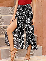 cheap -Women's Basic Daily Wide Leg Pants Polka Dot Print Black Khaki S M L