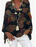 cheap -Women's Blouse Shirt Graphic Prints Long Sleeve Print V Neck Tops Loose Basic Basic Top Blue Red Yellow