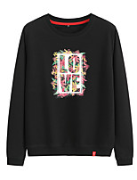 cheap -Women's Sweatshirt Womens Pullover Sweatshirts Black White Pink Artistic Style Crew Neck Cotton Cute Letter Printed Sport Athleisure Pullover Long Sleeve Breathable Warm Soft Comfortable Everyday Use