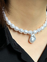 cheap -Women's Choker Necklace Pendant Necklace Simple Luxury Classic Elegant Imitation Pearl Alloy White 35 cm Necklace Jewelry 1pc For Gift Formal Engagement Prom Festival / Pearl Necklace