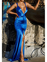 cheap -Mermaid / Trumpet Minimalist Sexy Wedding Guest Formal Evening Dress V Neck Sleeveless Court Train Stretch Satin with Split 2020