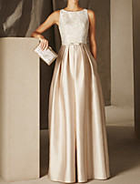 cheap -A-Line Elegant Empire Wedding Guest Formal Evening Dress Jewel Neck Sleeveless Floor Length Satin with Sash / Ribbon Pleats Appliques 2020