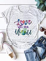 cheap -Women's Blouse Shirt Letter Round Neck Tops 100% Cotton Basic Basic Top White Black Blue
