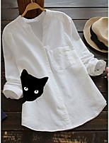 cheap -Women's Blouse Cat Long Sleeve Print V Neck Tops Cotton Basic Basic Top White Red Yellow