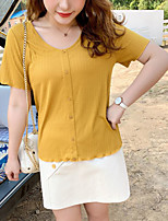 cheap -Women's T-shirt Solid Colored Button V Neck Tops Basic Basic Top Black Yellow Blushing Pink