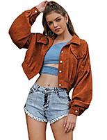 cheap -women's casual fashion all match lapel collar short corduroy coat jacket outerwear (small, brown)