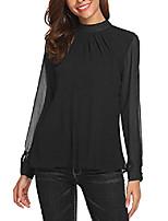 cheap -chiffon blouse women loose casual long sleeve tops layered dress shirts black