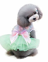 cheap -adorable dog dress clothes puppy grid skirt apparel for small medium pets green and pink tutu dress