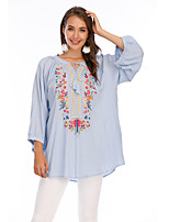 cheap -Women's Blouse Shirt Floral Flower Long Sleeve Embroidered U Neck Tops Loose 100% Cotton Basic Basic Top White Black Blue