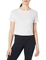 cheap -amazon brand - women& #39;s pima cotton cropped short sleeve t-shirt, light grey spacedye, 1x