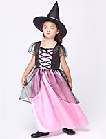 cheap -Witch Dress Cosplay Costume Outfits Kid's Girls' Cosplay Halloween Halloween Festival / Holiday Mesh Satin Blushing Pink Easy Carnival Costumes / Hat / Hat